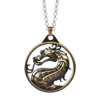 Wholesale Necklace Big Chain Vintage - Fighting Games Mortal Kombat necklace dragon Jane Empire vintage big pendant movie jewelry for men and women wholesale china factory