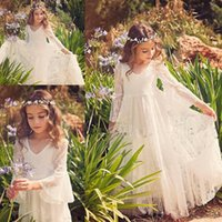 Wholesale Dresse For Girls - 2017 Ivory Lace Flower Girls Dresse For Weddings V Neck Illusion Long Sleeves Girls Pageant Dress Birthday Gown for Girls Communion Gowns