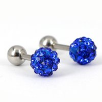 Wholesale Red Barbell Earrings - Mix Colors Gems Ball Ear Cartilage Cuff Helix Tragus Earring Barbell Ring 16g 1.2*5*4 5mm BJ6258