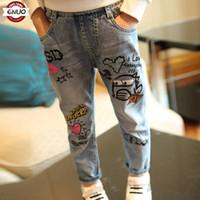 Wholesale Wearing Jeans Summer - Children's clothing han edition girls girls pants spring summer wear jeans trousers of graffiti girls leggings