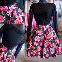 Wholesale Cute Sheer Black Dresses - 2016 Print Floral 2 Pieces Homecoming Dresses Real Pictures with Long Sleeves and Sexy Heart Back Black Lace Top Cute Short Prom Gowns