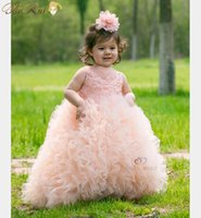 Wholesale Gorgeous Pageant Dresses Junior - Gorgeous Kids Girl Pageant Dress Ball Gown Embroidery Organza Bead Junior Flower Girl Dresses For Wedding with Tailing 5 colors