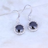 Wholesale Dropping Sale - Fashion Round Black Onyx White Cubic Zirconia Silver   18K Gold Plated Drop Earrings J0338 earring sale