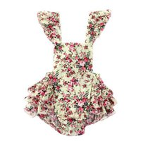Hot selling Vintage Summer Woven Floral Baby Bubble Romper Flutter Sleeve Ruffle Baby Girls Playsuit Backless Cross Romper Baby Cltohes