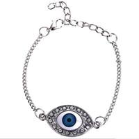 Wholesale Eyes Devil Bracelet - silver plated alloy Studded with full rhinestone Bracelets mosaic Devil Angel blue Eye Bracelet The Eye of Horus bangle women 2017 s010