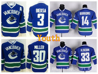 ingrosso colpisce pullover hockey-Youth Vancouver Canucks Maglie Hockey su Ghiaccio 33 Henrik Sedin 30 Ryan Miller Jersey Bambini Bambini 3 Kevin Bieksa 14 Alex Burrows Team Blue