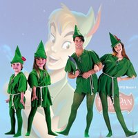 Peter Pan Kostüm Erwachsene Kinder Cosplay Outfit Halloween Party Karikatur Fancy Dress Hut Kleid String Gürtel Socken Full Set One Size Freies Verschiffen