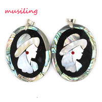 Wholesale Abalone Mother Pearl Pendant - Abalone Shell Pendants Necklace Chain Girl Head Portrait Alternate Splicing Pendant Accessories Silver Plated European Trendy Jewelry