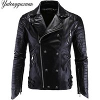 Wholesale real leather motorcycle jackets - Wholesale- 2017 Real Ceket Autumn Winter Leather Jacket Mens Rivets Oblique Zipper Coat Male Motorcycle Fit Personalized Jaqueta De Couro