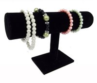 Wholesale jewelry bangle organizer - Portable Organizer Black Velvet Bracelet Bangle Necklace Chain Watch T-Bar Rack Jewelry Display Stand Holder Rack