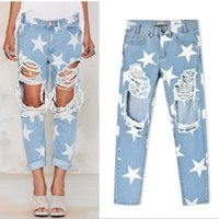 Wholesale Big Star Capris - 2016 Women printed Five-pointed Star fashion Vintage Sexy Big Holes Ripped Jeans Baggy Female Denim pants