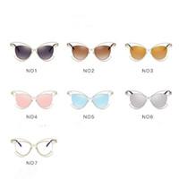 Wholesale European Sunglasses Brands - 7 Colors Cat Eye Sunglasses Personality Sunglasses for Unisex Luxury Brand Vogue Glasses European and American Eyewear CCA7846 100pcs