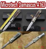Wholesale Damascus 58hrc - Factory direct microtech NEW troodon A163 damascus knives camping knife Aviation aluminum handle 440 blade (4 models) EPacket free shipping