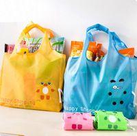 Wholesale Wholesale Ripstop Nylon - Hot Fashion Carton Portable folding shopping bag Large nylon bags Thick bag Foldable Waterproof ripstop Shoulder Bag Handbag Free shipping