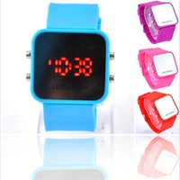 Luxo Square Mirror Dial LED Digital Watch Mulheres Homens Unisex LED Digital Touch Screen Colorido Silicone Relógios Moda Sport Wristwatch Novo