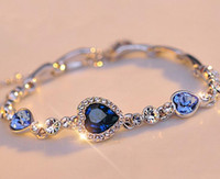 Wholesale Sliver Plate Wholesale - Stylish Women New Fashion Ocean Blue Sliver Plated Crystal Rhinestone Heart Charm Bracelet Bangle Gift Jewelry CC688