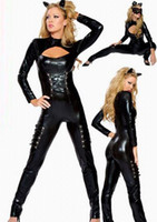 Vente en gros-Best Seller Leather Catwoman Costume Sexy Black Cosplay Déguisement Adultes Costume Sexy Body Costume Erotique Dancer de plomb CE224