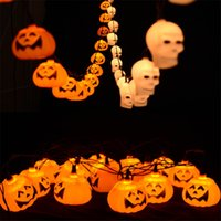 Wholesale Decor Lanterns - Halloween Hanging Pumpkin Lantern 3D Plastic Skull String Light 16 head LED AC220V Orange Pumpkin Lights Halloween Holiday Decor