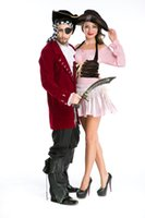 Wholesale Pirate Costume Deluxe - Deluxe sexy Adult Pirate Prince Princess Halloween party Cosplay Fancy Dress Costume 8773 S-L