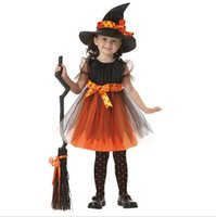 Wholesale Baby Witch Costumes - Hot Europe Children's Halloween Costume Baby Girls Cosplay Witch Lace Dress with Hat Children Dance performance Clothing