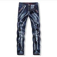 Wholesale Blue Denim Skinny Jeans - Wholesale-2016 Men Pants Jeans Plus Size Patch Joining Together Skinny Straight Fashion Denim Dark Blue Jeans