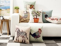 Wholesale Elephant Pillow Pattern Free - Free shipping ink wash painting bird cock rooster elephant zebra true love never dies pattern cushion cover decorative throw pillow Case