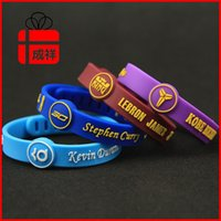 Wholesale Wholesale Curry - Basketball Star Sports Bracelet Silicone Wrist Kobe James Curry Durant Signature Adjustable Bracelets Free Size Wrist Silicone Bracelets 064