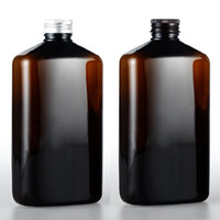 Wholesale Brown Pet Bottles - 12pcs 500ml empty personal care plastic cosmetics brown bottles with aluminum screw caps,colored shampoo water liquid PET bottle containers