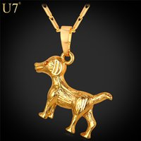 Wholesale Real Animals Dogs - New New Fashion Dog Necklace For Men Platinum 18K Real Gold Plated Party Trendy Charm Animal Pendant For Lucky Jewelry P799
