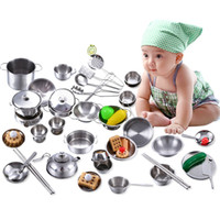 Wholesale Toy Kitchen Utensils Wholesale - Wholesale- Kids Kitchen Utensils Play House Cooking Toys MWZ More Style Stainless Steel Kitchen Pots Pans Tools Pretended Play Education