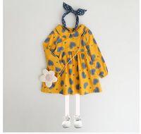 Wholesale Wholesale American Baby Doll - Baby girls dresses Autumn new sweet girls doll collar love-heart printed dress children long sleeve Zipper back dress Kids clothing G0942