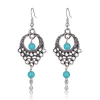 Dream Catcher Boucles d'oreilles Turquoise Perles Tassel Dangle Chandelier Ethnique Bohème Déclaration de bijoux Vintage Earrings Saint Valentin