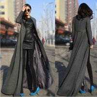 Wholesale Women S Woollen Coats - Qiu dong the goddess of cultivate one's morality posed mop the floor on the super long woollen coat collar dress dust coat dress coat