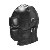 Wholesale Full Sex Mask - Bondage Gear Full Cover Hood Mask Muzzle Gimp Detachable Faux Leather with Detachable Eye Pad Mouth Gag Fetish Sex Toy
