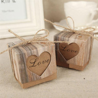 Wholesale Sweet Wedding Favours - 100Pcs Heart Love Rustic Sweet Candy Boxes Kraft Paper Wedding Party Favour Gift Box Party Supply