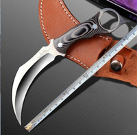 Wholesale fighting fixed blades - 2017 Outdoors Karambit scorpion Claw Machete tactical knife Fixed black Knife camping survival tools Hunting Survival Fighting knives