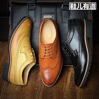 Wholesale Vintage Brogues Mens - Elegant Stylish Vintage Leather Brogues Shoes Mens Dress Oxfords Hand Sewing Lace Up British Style High Quality Trendy New Spring Autumn