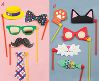 Wholesale Bag Booth - Photo Booth Props Wedding Mustache mask glasses cap On A Stick jokes fun Party Birthday DIY photobooth Props festive supplies filler bag