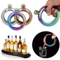 kaliteli kalça şişeleri toptan satış-4 Renkler 3.5 oz Paslanmaz Çelik Bilezik Hip Flask Yüksek Kalite Şarap Viski Drinkware Alkol Şişesi Metal Likör Şişe CCA8081 100 adet