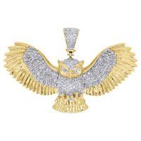 "Wholesale Owl Flying - 10K Yellow Gold Real Diamond Owl Pendant Flying Wings 1.25"" Bird Charm 0.74 CT."