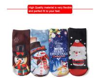 Wholesale 12 Pairs Christmas Socks - 3D Print Cute Santa Claus Socks Low Cut Harajuku Christmas Boat Socks Christmas Socks 2pcs pair