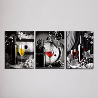 Wholesale Cheap Wall Canvas Paintings - Large Canvas Art Cheap 3 Piece Wall Art Picture of Grape Glasses Modern Pattern on the Wall Paintings for Restaurant Decoration