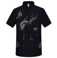 erkekler çince kung fu gömlekleri toptan satış-Toptan-Lacivert Geleneksel Çince erkek Nakış Ejderha Gömlek Yaz Pamuk Keten Kung fu Tai Chi Gömlek M L XL XXL XXXL MS054