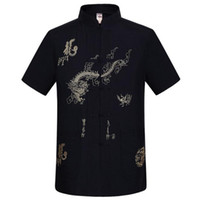 Wholesale Kung Fu Shirt Cotton - Wholesale-Navy Blue Traditional Chinese Men's Embroidery Dragon Shirt Summer Cotton Linen Kung fu Tai Chi Shirt M L XL XXL XXXL MS054