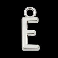 Wholesale Silver E Charms Pendant - Wholesale 6*16mm Vintage Initial E Charms Alloy Alphabet Letter Pendant Charms 100pcs lot AAC1198-E