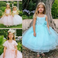 Wholesale Girls Lace Bolero - 2016 Aqua Tea Length Flower Girl Dress Sleeveless Spaghetti Straps Flower Sequin Lace Bodice Ball Gown Tulle Skirt With Bolero Jacket