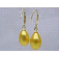 Wholesale Golden Earrings Hooks - Natural golden yellow12X14mm AAA drop akoya pearl dangle hook earring 14K
