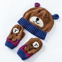 Wholesale Handmade Crochet Earmuff - Wholesale Bear Embroidery Toddler Hat Cotton Baby Hat +Gloves Set Crochet Baby Beanies Kids Fall Winter Cap Handmade Windproof Earmuff Cap
