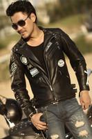 Wholesale Led Leather Jacket - Fall-Factory Leather Motorcycle Jacket oblique zipper Multi Pocket skull man biaoli leading 100% real cowhide leather jacket short