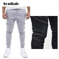 Wholesale Elastic Waist Harem Pants - Wholesale-Fashion Biker Joggers Slim Fit Skinny Sweatpants Harem Pants Men Hip Hop Swag Clothes Clothing high street Gray Black Kanye West